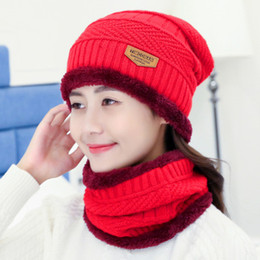 wholesale korean beanies for men Australia - Winter Hat Pullover Hat Scarf Suit With Thick Wool Hat Autumn Winter Korean Knitted Caps For Men And Women