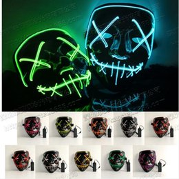 $enCountryForm.capitalKeyWord Australia - Hot Sale Glowing LED Halloween Ghost Masks Masquerade Full Face Masks The Purge Movie Wire Glowing Mask Costumes Party mask Gift