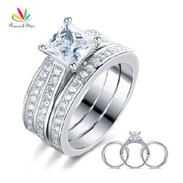 $enCountryForm.capitalKeyWord Australia - 1.5 Ct Princess Cut Solid 925 Sterling Silver 3-Pcs Engagement Bridal Ring Set Jewelry CFR8197 Dropshipping Service Available