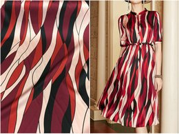 satin stripe fabric Australia - 2019 new wide stretch natural silk satin fabric abstract vertical stripes heavy silk shirt dress fabric boutique women's cloth