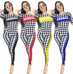 $enCountryForm.capitalKeyWord NZ - Classic Style women Two Piece Set Summer Plaid Tracksuits Outfit T shirt And Pants Suit Tight sportswear suit sexy Women Clothing