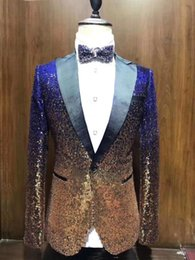 Black gold white tuxedo online shopping - 1 Pieces Shiny Sequin Mens blazer Suit Slim Fit Notch Lapel Tuxedo for Party Wedding Banquet Nightclub Blazer