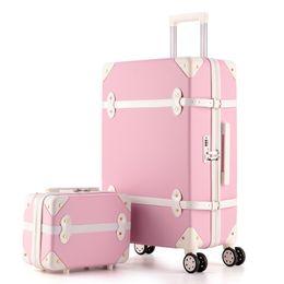 $enCountryForm.capitalKeyWord NZ - KAWEIDA Retro Pink Pu Leather Brand Suitcase Women Trunk Vintage Luggages Rolling Luggage for Girls