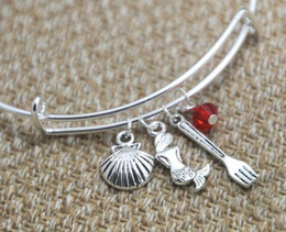 red crystal bangles NZ - Ancient Silver Seashell Mermaid Fork Crystal Beads Charm Adjustable Bracelet Bangle Designer Bracelet Fashion Women Men Jewelry Best Gift
