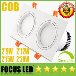 Square Bathroom Ceiling Lights Australia - Square Grille Light 2*(9W 12W 15W 20W) COB LED Downlights White Silver Tiltable Fixture Recessed Ceiling Down Lights Showcase Display Lamps