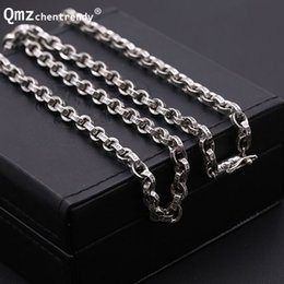 thai 925 necklace Canada - S925 Sterling Silver Retro Thai Silver Men Dragon Clasp Box Chain Clavicle Necklace Wholesale 925 Pure Silver Box Necklace