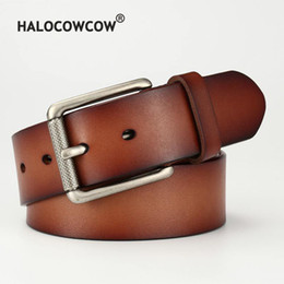 black leather cowboy belts Australia - New Genuine Leather Belt for Men High Quality Pin Buckle Jeans Belt Vintage Cowskin Casual Belts Business Cowboy Waistband