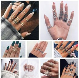 Boho Style Rings Australia - 10 styles Boho Carving Flowers Leaves Water Drop Stars Crystals Gem Joint Ring Fashion Lady Party Silver Ring Set Combinations ALXY02