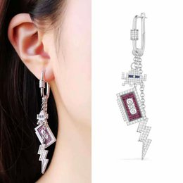 earrings europe design NZ - Europe and America Unique Design Women Fashion Earring White Gold Plated CZ Robot Earring for Girls Women Nice Gift 1 Piece