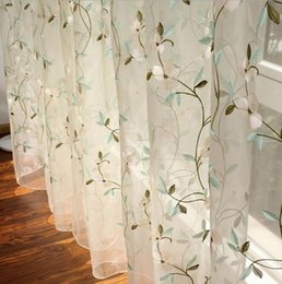 white building blocks UK - Idyllic flower curtain window screen light blocking cotton linen floor Sheer Curtains American rural flower vine embroidery curtain