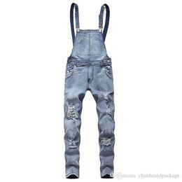 Overalls Motorcycles Australia - Wholesale - Mens Jeans Designer Men Suspenders Slim Jeans Motorcycle Motorcycle Pants Hip Hop Sports Pants Free Shipping