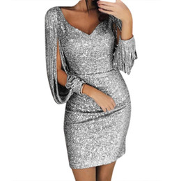 Wholesale kimonos for women resale online - Fashion Sexy Women V Ncek Solid Sequined Glitter Stitching Shining Club Sheath Long Sleeved Mini Dress For Female