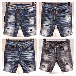 $enCountryForm.capitalKeyWord Australia - Real Picture Italy ICON Men D2 Ripped Jeans Fashion Motorcycle Biker Short Jean Casual Denim Pants Streetwear Hole Style Shorts Jeans