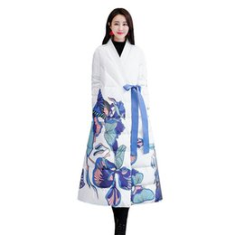 Cotton Long Overcoat Ladies NZ - Women Winter Fashion Flower Printed Chinese Style Cotton Coats Female Loose Casual Long Coat Lady Elegant Thicken Overcoats V349
