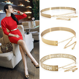 $enCountryForm.capitalKeyWord Australia - Women Punk Full Metal Mirror Skinny Waist Belt Metallic Silver Gold Plate 2cm 3.5cm Wide Chains Lady Ceinture Sashes For Dresses