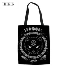 Used Cat UK - THIKIN Gothic Moon Phase Witchcraft Cat Printing Large Capacity Ladies Beach Bag Tote Daily Use Single Shoulder Shopping Bags