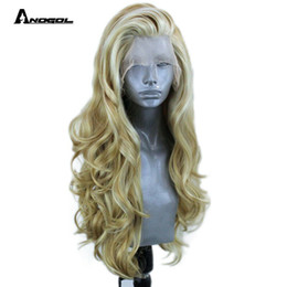 $enCountryForm.capitalKeyWord NZ - Long Blonde Body Wave Balayage Lace Front Wig Women Natural Wavy Synthetic Hair