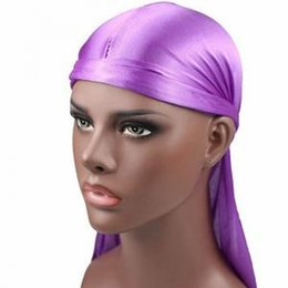 Yellow accessories online shopping - Men s Satin Durags Bandanna Turban Wigs Men Silky Durag Headwear Headband New Fashion Pirate Hat Hair Accessories PPA259