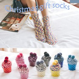 College Christmas Gifts NZ - New 9 Styles Winter Autumn Warm Socks Coral Cashmere Cotton Cup Cake Socks Creative Soft Socks for Women Girl's Cute Christmas Gifts G502S F