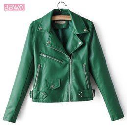 $enCountryForm.capitalKeyWord Australia - PU Lapel Long Sleeve Motorcycle Zipper Windproof Women's Jacket 2019 Autumn New Korean Version Wild Chic Female Coat Green Black