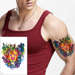 $enCountryForm.capitalKeyWord NZ - Colored Drawing Butterfly Lion Body Tattoos Waterproof Temporary Fake Painting Tattoo Sticker Kids Women Men Cool Animal Arm Back Art TH-229