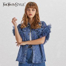Wholesale big denim jacket for sale – winter TWOTWINSTYLE Summer Mesh Patchwork Women Jacket Lapel Sleeveless Button Big Size Denim Coat Female Fashion Clothes Tide
