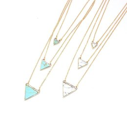 $enCountryForm.capitalKeyWord Australia - Multilayer Crystal Triangle Kallaite Howlite Natural Stone Pendant Gold Chain Necklaces Geometric Circle Accessories Jewelry