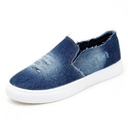 $enCountryForm.capitalKeyWord Australia - Denim Casual Shoes Washed Hole Flats Denim Loafers Slip-on Hole Flats High Quality Canvas Shoes New Arrival Casual Shoes