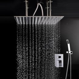 $enCountryForm.capitalKeyWord Australia - 24 Inches Super Large Size Square Rainfall Shower Mixer 600x600 Bathroom Ceiling Mounted Big Rain Showerhead Shower Faucets Set