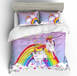 rainbow bedding Australia - Hot Popular 3d Rainbow Unicorn Four-Piece Bedding Set Cross-Border Three-Piece Set Wholesale Amazon 3d Printing Free Shipping