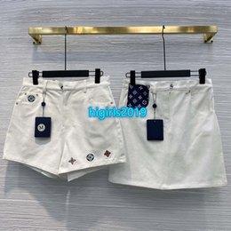 flattering line dresses Canada - high end women girls denim shorts jeans embroidery monogram letter sexy loose a-line skirt mini pants 2020 fashion design luxury dresses