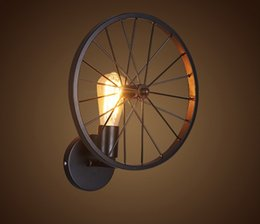 Vintage metal wheels online shopping - Retro Style Wheel Wall Sconce Vintage Iron Lamp Loft Aisle Hotel Bar Cafe Doorway Attic Corridor Industrial Metal Light LLFA