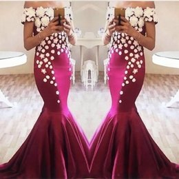 Winter White Flowers Australia - 2019 New Cheap Sexy Prom Dresses Off Shoulder Mermaid Grape Burgundy Satin With White Flowers Long Evening Dress Party Pageant Formal Gowns