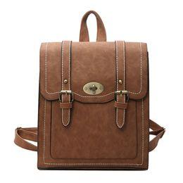 Pu Leather Book Bag Australia - School Backpacks Style 2019 New Retro Fashion Women Backpack High-quality Pu Leather Portable Shoulder Bag Travel Books Rucksack