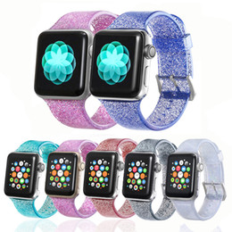 iwatch straps Australia - Transparent Glitter Silicone Strap for Apple Watch 5 4 44mm 40mm iWatch 3 2 1 Rubber Bands Bracelet Wrist Belt