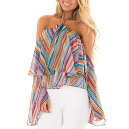 striped shirts for women 2019 - 2019 Women Chiffon Blouses With Off Shoulder Slash Neck Elegant Shirts Sexy Tops For Women Tops Clothing Ruffle Sleeve B
