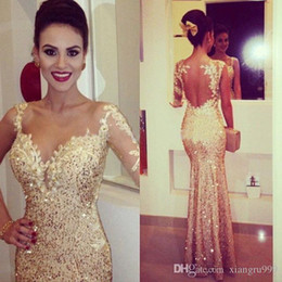 $enCountryForm.capitalKeyWord Australia - Fabulous Gold Shining Formal Prom Dresses Lace Sequins Floor Length Mermaid Evening Gowns Illusion Neckline Backless Special Occasion Dress