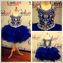 Discount tulle ball gown for little girl - 2019 Crystal Beads Ball Gown Royal Blue Flower Girl Dresses For Toddlers Kids Communion Dress Real Images Cute Little Gi