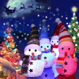 Xmas Ornaments Lights Australia - Snowman LED Color Changing Light Night Cute Christmas snowman Santa Claus Night Shape Color Lamp Xmas Light Home Ornaments Bar Light Decor