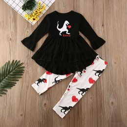 ingrosso dinosauri a collo lungo-I bambini della neonata Dinosaur Stampa vestiti Ruffle dal O Collo irregolare Lunghezza T Shirt Top Long Pants Cotton Outfit Set
