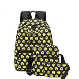 0b52ef192e good quality 3pcs set Canvas Backpack Women 3d Emoji Design School Bag For  Teenager Smiley Face Printed Backpack Girls