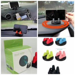 wholesale black pink box 2019 - 360 Degree Rotation Car Mount Holder For Cell Phone Mobile Universal PC+Silicone Phone Stand Holster 3M Adhensive Lazy B
