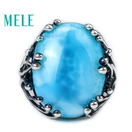 larimar rings Australia - Natural Larimar 925 Silver Ring With Big Oval Cut 15x20mm Blue Stone For Both Women And Man Fashion Design Gem Fine Jewelry MX190726