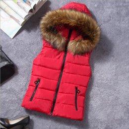 Discount waistcoat chain - 2018 Brand Winter Vest Women Jacket Coat Down Cotton Casual Hooded Women's Fur Vests waistcoat Female vestidos Larg
