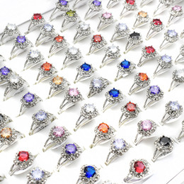 wholesale vintage style crystal rings UK - 20 Pieces Vintage Style Round Colorful Crystal Rings Wholesale Punk Bohemian Rings for Women Fashion Jewelry