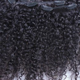 Clip Human Hair Extensions Remy 24 UK - Afro Kinky Curly Clip In Human Hair Extensions Brazilian 100% Remy Hair 120g Set Jet Black Color 1#, free shipping