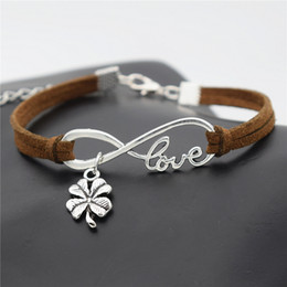 Clover Chain Wholesale Australia - Vintage Dark Brown Leather Suede Wristband Jewelry For Women Men Fashion Infinity Love Four Leaf Clover Adjustable Bracelets & Bangles Gifts