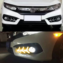 drl accessories UK - Turning Signal style relay Car LED DRL Daytime Running Lights For Honda Civic 10th 2016 2017 2018 Accessories with Fog Lamp hole