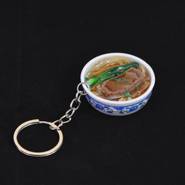Chinese Porcelain Pendants Australia - 5 Pieces DIY Handmade Creative Keychain Porcelain Bowl Keyrings Chinese Food Purse Bag Pendant Baby Educational Toys for Kids Gift