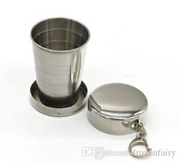 stainless steel collapsible travel cup Australia - Wholesale 75ML Stainless Steel Portable Mini Travel Retractable Cup Keychain Folding Collapsible Cup